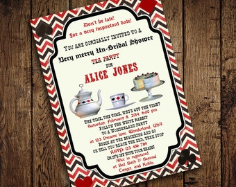 Alice in Wonderland Tea Party Invitation - Vintage Chevron - for Birthday, Baby Shower, Bridal shower Tea Party - Printable DIY