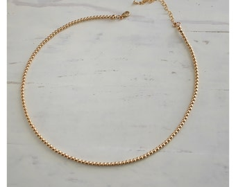 small gold beads necklace • 14K gold filled ball necklace or sterling silver bead necklace • small beads necklace • beaucoup de beads • B010