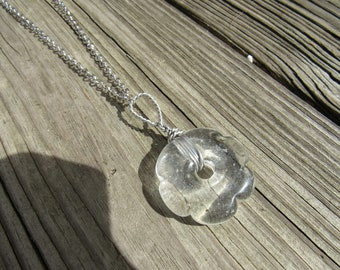 Clear glass flower bead necklace with silver chain