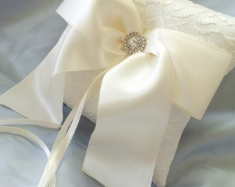 Ivory Lace Ring Bearer Pillow Large Bow Lace Ring Pillow Rhinestone Accent