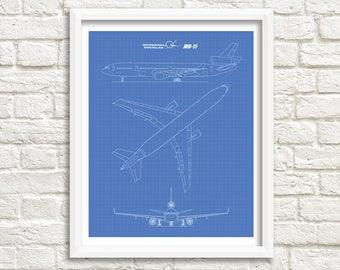 "McDonnell Douglas MD-11 Blueprint, Blueprint Art, MD-11, Instant Download, McDonnell Douglas, Printable Art, Aviation Decor, 8x10"", 11x14"""