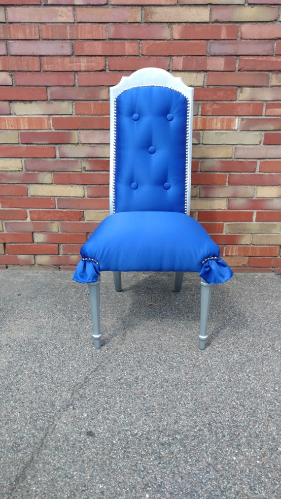 Cobalt Blue Peacock Feather Backed Accent Chair