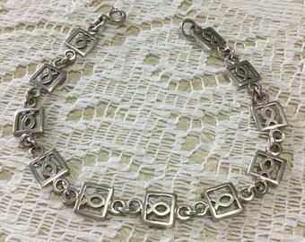Vintage Sterling Silver Christian Ichthys Link Bracelet