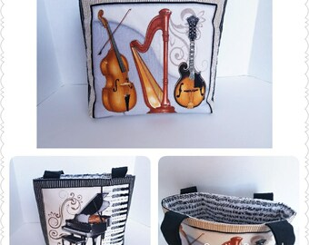 Orchestra Mini Totebag, Orchestra Instruments Bag, Gift for Orchestra Teacher, Gift for Her, Music bag, Christmas Gift