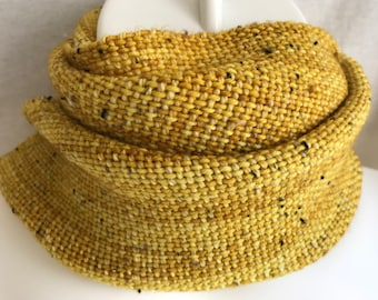 Handwoven Scarf | Gold Donegal Tweed Scarf | Gold Tweed Scarf | Ocher Scarf | One Of A Kind | Hand Dyed Scarf | Gift For Him | Gift For Her