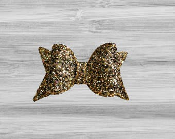 Large Gold Chunky Glitter Bow Hair Clip
