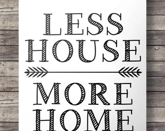 Less House, More HomePrintable art | Quote print | Minimal modern black and white | Minimalist Printable wall art  INSTANT DOWNLOAD