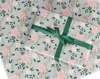 Christmas wrapping paper, gift wrap, Christmas flower gift wrap, Christmas wrapping paper sheet