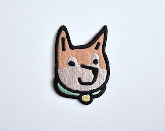 Iron on patch // Dogger Face // Shiba Inu // Dog // Dog lover // Cute // Funny embroidered patch for jacket
