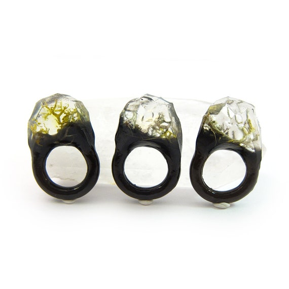 Moss Resin Ring • Nature Inspired Rings • Terrarium Ring • Terrarium Moss Jewelry • Botanical Ring •• Size 4.5
