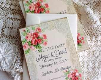 Vintage Romantic Wedding Lace and Roses Save the Date Cards by avintageobsession on etsy