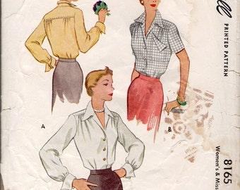 McCall sewing pattern 8165 yoked blouse 1950s