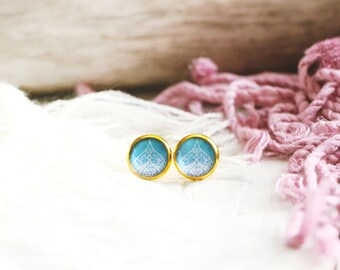 Jawhara stud earrings, graphic pattern, sky blue, gold base 10 mm, Arabian Nights, Women