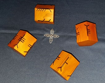 Yew Ogham Dice Set - yew tree timber with ogham symbols for divination