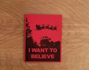 I Want To Believe UFO Santa Funny Letterpress Christmas Card Holiday Greeting Card. Single or Boxed Set