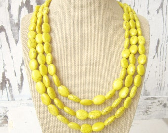 Triple Strand Yellow Necklace. Yellow Howlite Adjustable Statement Necklace. Multi Strand Yellow Jewelry. Beadwork Necklace