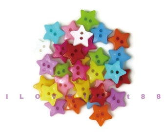 30 pcs 12MM Star Buttons (S) / 2 Holes Plastic Buttons / Sew-through Buttons / A set of 30 pcs mixed colors