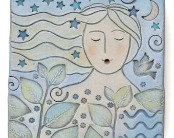 Femme, décoration murale, art, argile, art original, unique en son genre