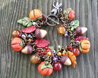 Pumpkin and Acorn Bracelet, Dragonfly, Charm Bracelet, Polymer Clay, Festival of Colors, Orange Purple Green