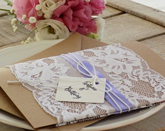 Rustic Wedding Invitation, Rustic Wedding, Printed Invitation Set, Lavender Wedding Invitation, Rustic Invitation, Elegant Assembled