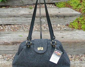 Handbag, Grey Purse, Gray Handbag, Shoulder Bag, Wool Tweed Purse, Purse, Handbag, Carpet Bag, bags and purses,