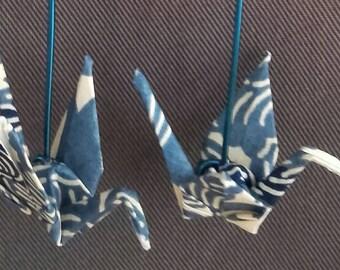 Blue origami crane earrings flowers