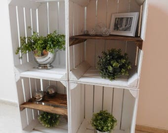 """4 White wooden crates Package """"shabby chic"""""""