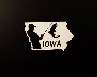 Iowa Decal, Fishing Decal, Iowa Fishing Decal, Car Decal, Yeti Decal, Laptop Decal, Iowa Sticker