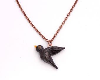 Necklace Black Bird (Polymer Clay) Handmade Animal Jewelry