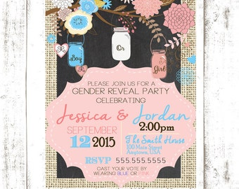 Mason Jar Gender Reveal Invitation