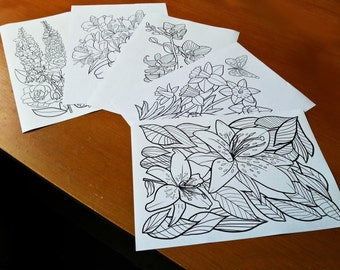 Adult Colouring Flowers Set of 5