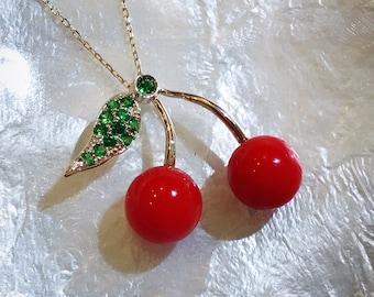 Coral cherry pendant