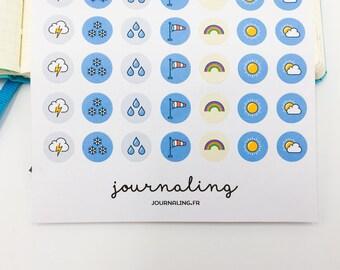 56 Stickers Weather for Bullet Journal, planner, Filofax et agenda. Weather sticker.