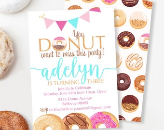 Donut Party Invitation, Donut Birthday Invitation, Girl Birthday Invitation, Breakfast Invitation