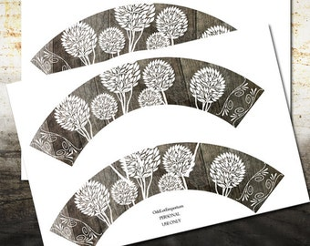Rustic Trees Cupcake Wrapper for Birthdays, Weddings or any occasion! - INSTANT DOWNLOAD