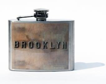 HIP FLASK - Groomsmen Gift- BROOKLYN - Brooklyn Flask -  Flask - Flask -Whisky Flask - 4oz