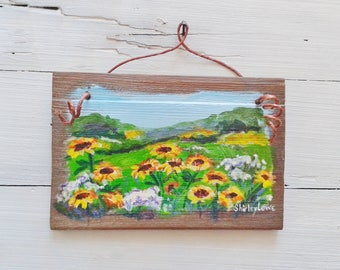Sunflower field painting, sunflower painting, Sunflower art, rustic plaque art, Sunflower landscape, 5.5x8 inches, yellow floral art