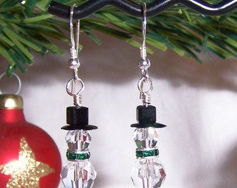 Christmas Holiday Snowman Earrings with Swarovski Crystal Sterling Silver Snowmen