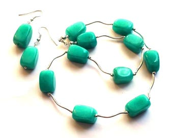 Necklace and earrings green Aventurine, turquoise sea and 925 sterling silver, fine and delicate necklace, Valentines Day gift