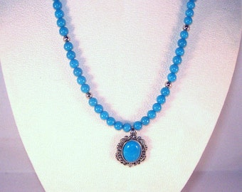 Turquoise Howlite and Mountain Jade Necklace