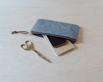 Zipper Pouch, Pencil Case in Charcoal Linen - Zip Pouch, Cosmetic Clutch, Phone Wallet, Zipper Clutch, Bridesmaid Gift