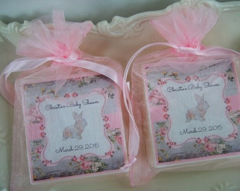 Shabby Chic Bunny baby shower favors, set of 10, soap favors, baby sprinkle favors