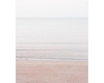 Minimal beach landscape photograph for coastal feminine bedroom. Peaceful wall art photo. Statement artwork for diy interior designer.