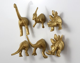Dinosaur magnets // dino fridge magnets // gold dinosaur set // cool  refrigerator magnets