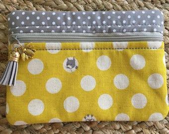 Japanese Kokka Yellow Boxer Dog Small Zip Pouch-Polka-Dots-Gray-White