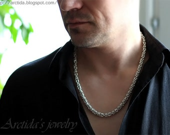 Mens necklace Byzantine necklace chainmaille sterling silver necklace for men - mens jewelry heavy chain men fashion sexy masculine man