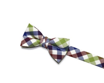 Boys Bow Tie~Easter Bow Tie~Summer Bow Tie~Boys Plaid Bow Tie~Ring Bearer Tie~Wedding Bow Tie~Boys Gift~HoBo Ties~Navy & Lime Check Bow Tie
