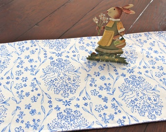 Spring Table Runner Bunnies in Blue and White