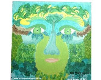 Celtic Green Man - original acrylic painting
