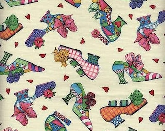Shoes Bows and Hearts (white back ground) Fabric Quilt or Craft Home Decor